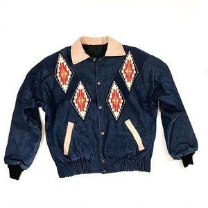 Vintage Aztec Blue Jean Denim Bomber Jacket